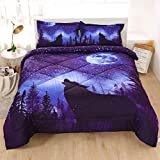 Wolf Moon Blue Galaxy Comforter Sets Twin 3 Pcs, Boys and Girls Kid Twin Size Wolf Bedding Sets with Pillowcases,Wolf Bedspread Coverlet Quilt Comforter Bedding Sets, Galaxy Wolf Comforter Twin