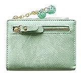 ZYJ Titular de la Tarjeta de crédito de Cuero para Mujer Billetera con borlas Bifold Billetera Corta Monedero con Cremallera Lindo para Dama Bolso de Mano,Green