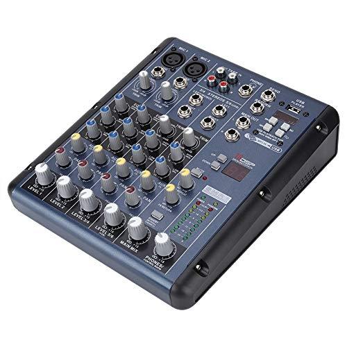 Sound Mixer, Professional Home Type ER-9000F6 Audio Sound Mixer, 6-8-kanaals mengtafel, XLR microfoonaansluitingen, Low-noise, gebalanceerde 1/4 inch stereo jacks, EU100-240V