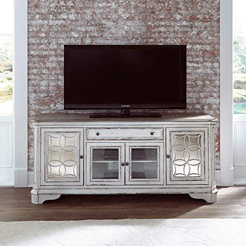 Liberty Furniture Industries Magnolia Manor Entertainment TV Stand, W74 x D19 x H32, White