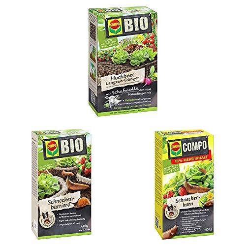 Compo Bio Hochbeet Langzeit-Dünger + Bio Schneckenbarriere, Barriere aus Muschelkalk zur Abwehr von Schnecken, 4 kg + Schneckenkorn, Streugranulat gegen Nacktschnecken, 1,1 kg