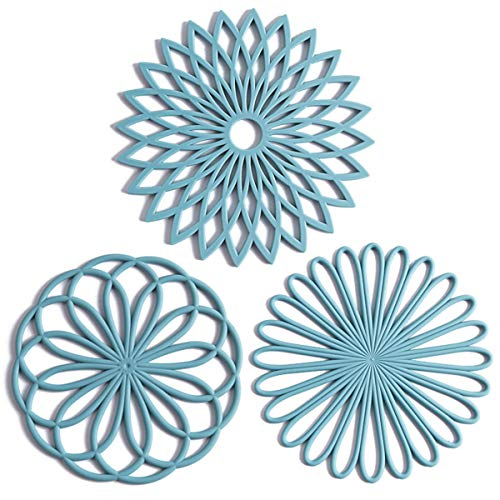 Set of 3 Silicone Trivet Mat - Hot Pot Holder Hot Pads for Table & Countertop - Trivet for Hot Dishes - Non-Slip & Heat Resistant Modern Kitchen Hot Pads for Pots & Pans, Turquoise
