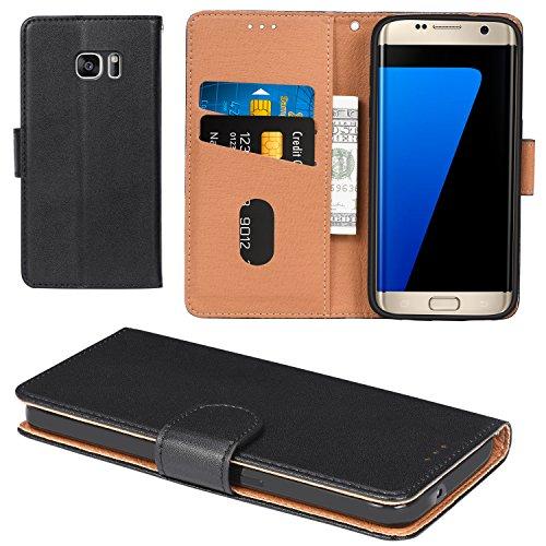 Aicoco Galaxy S7 Hülle Schutzhülle Tasche Flip Case für Samsung Galaxy S7 Handyhülle - Schwarz