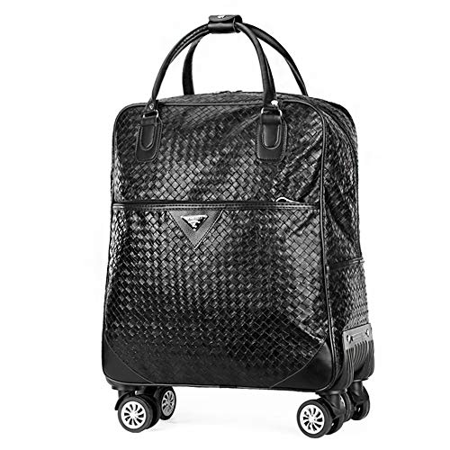 Adlereyire Trolley Bag 55 Liters,Lightweight and Waterproof Roller Bag Holdall with Wheels Functional Cabin Luggage Bag for Laptops up to 17' (Color : Black-B, Size : 22-inches)