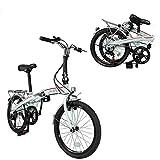 Xspec 20' 7 Speed City Folding Mini Compact Bike Bicycle Urban Commuter, White