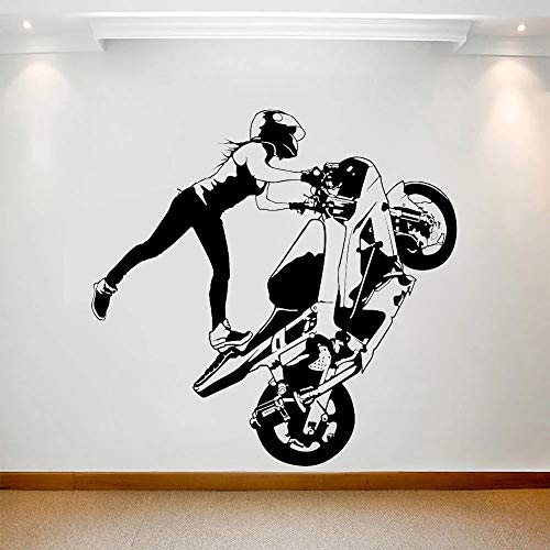 Vinyl Decal Girl Racing Motorcycle car