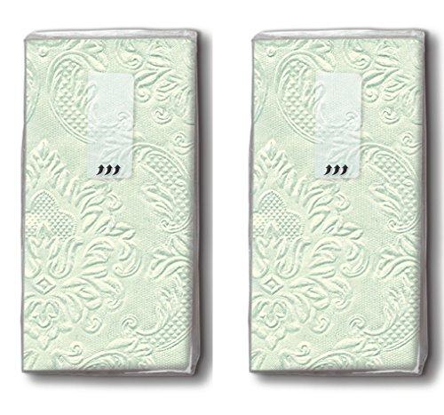 20 zakdoeken (2x 10) zakdoeken Moments Ornament pale green - Uni pastelgroen met ornamenten/vreugdetranen/bruiloft
