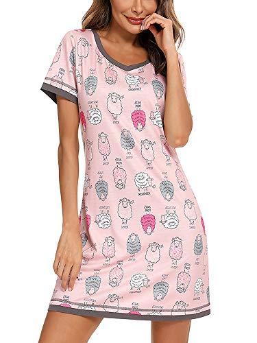 O.AMBW Camison con Encaje Floral Cuello en V y puño, Mini Vestido de Manga Corta, Ropa de Dormir cómoda y Sexy para niñas Adolescentes y Mujeres Adultas Ropa de Lactancia para Embarazadas