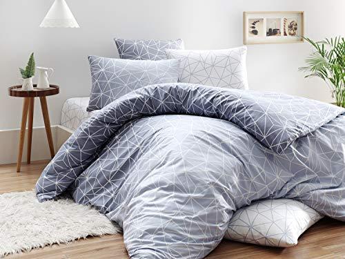 KESTEX Circle GEO Renforce Bettwäsche 100% Baumwolle 135x200 cm Set mit feinem Geometrischem Muster / 2 teilig Bettbezug 135x200 cm mit Reißverschluss + 80x80 cm