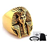 Gungneer Stainless Steel Egyptian Akhnaton King Pharaoh Ring Symbol of Protection Power Strength Jewelry Accessories