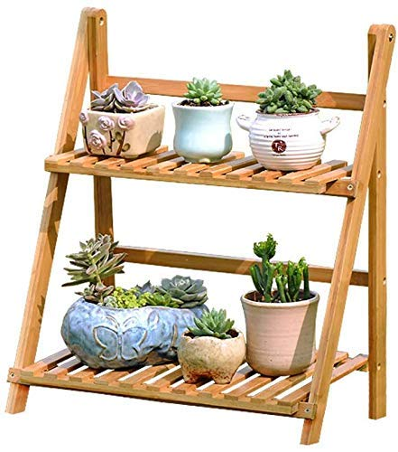 LUISONG FANMENGY Flower Holder Bamboo Wood Solid Floor Standing Multi-layer Folding Flower Shelf Indoor Balcony Plant Pot Rack 56×32×50cm Plant Stand
