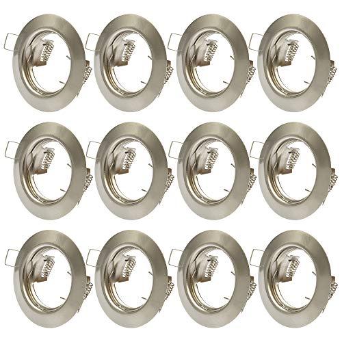 12x Einbaustrahler GU10 Set – 12 Stück Einbaurahmen in Edelstahl gebürstet Optik Inkl. GU10 Fassung für LED oder Halogen Leuchtmittel, Rund