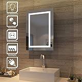 SONNI Spiegelschrank mit Beleuchtung, Rasierersteckdose und Schiebetür/BadezimmerSpiegelschrank/Bad...