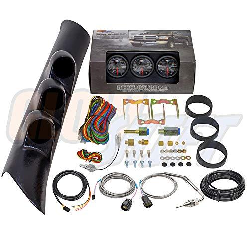 GlowShift Diesel Gauge Package for 1998-2002 Dodge Ram Cummins 2500 3500 - Black 7 Color 60 PSI Boost, 1500 F Pyrometer EGT & Transmission Temp Gauges - Black Triple Pillar Pod