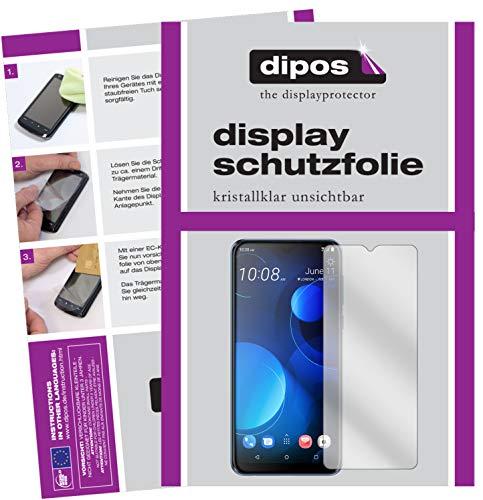 dipos I 2X Schutzfolie klar kompatibel mit HTC Desire 19 Plus Folie Bildschirmschutzfolie (bewusst Kleiner als das Glas, da Dieses gewölbt ist)