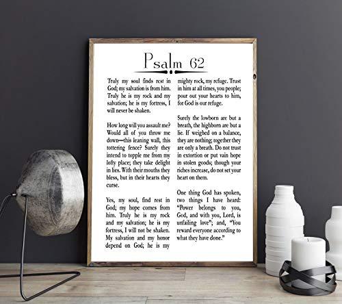 Póster cristiano del Salmo 62, 20 x 30, blanco
