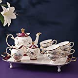 XCTLZG Tea Sets for Adults, Porcelain Tea Set High-grade Bone China Coffee Cup Sets for Afternoon Tea and Coffee Wedding Gift,10pcsB