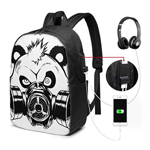 Bolsos de Moda para Mujer Bad Panda Gas Mask Office Laptop Mochila con Puerto de Carga USB y Puerto de Auriculares para Viajes de Trabajo Universitario