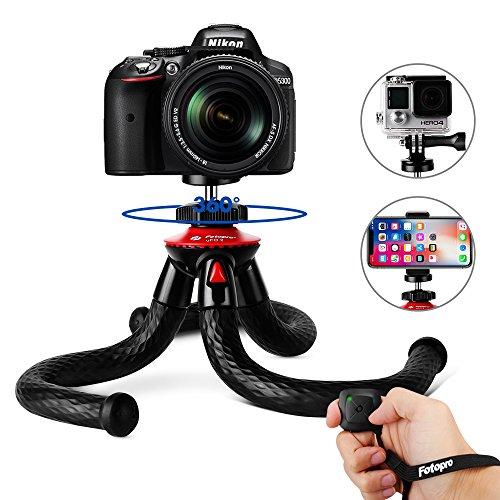 Fotopro Handy Stativ, Flexibel Smartphone Stativ, leicht Kamera Stativ mit Bluetooth Fernbedienung, Handy Halter Halterung für Kamera, iPhone, Samsung Galaxy