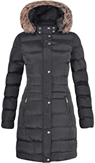 3eb178bd3bb Spindle Womens Long Fur Trimmed Hooded Padded Puffer Parka Ladies Winter  Jacket Coat