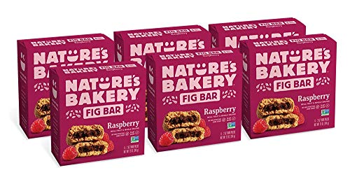 Nature's Bakery Whole Wheat Fig Bars, Raspberry, Real Fruit, Vegan, Non-GMO, Snack bar, 6 boxes with 6 twin packs (36 twin packs)