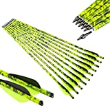 Pinals Archery Camo Crossbow Bolts 18 20 inch Carbon Hunting Arrows Crossbolt 12PCS(Yellow 20')