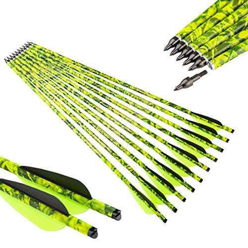 Pinals Archery Camo Crossbow Bolts 22 20 inch Carbon Hunting Arrows Crossbolt 12PCS(Yellow 20')