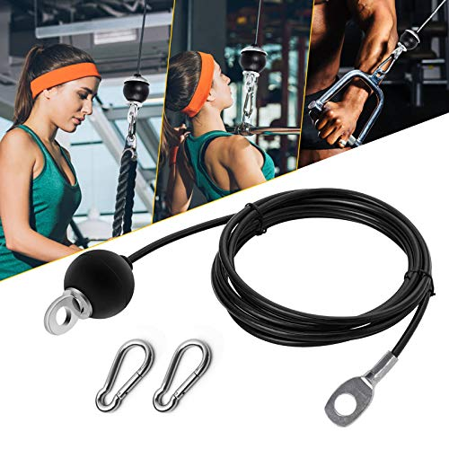 Aoolbic Fitness Replacement Gym Cable for Home Fitness Cable Pulley Machine Accessories,8.2Ft Length Adjustable Heavy Duty Steel Wire Rope,Gym Equipment LAT, Pull Down (Stopper Ball- B)