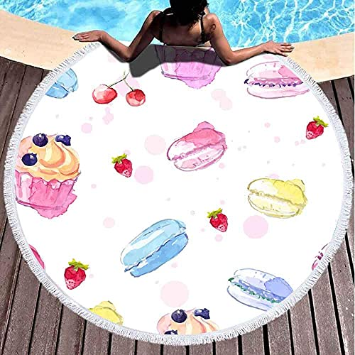 Patrón de Toalla de Playa Redonda con macarrones de Cupcake de Acuarela Pintados y Fondo de Fresa Microfibra de Gran tamaño Grande de Secado rápido para Toalla de Piscina