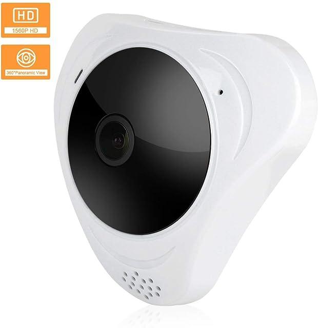 Cámara de seguridad inalámbrica 3MP HD Wifi IP cámara de vigilancia ojo de pez con panorámica de 360 grados + IR vision nocturna para el hogar/oficina(EU)