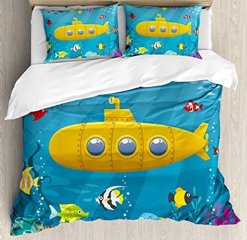 Juego de fundas de edredón submarino amarillo, arrecife de coral con coloridos peces Ocean Life Marine Creatures Tropic Kid, juego de cama decorativo de 3 piezas con 2 fundas de almohada, mostaza azul