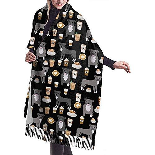Regan Nehemiah grijze mantel koffie latte koffie hond warme zachte kasjmier sjaal wrap sjaal lange sjaal