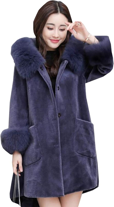 Esast Women's Winter Faux Fur Hoodie Cardigan Coat Thick Parka Overcoat