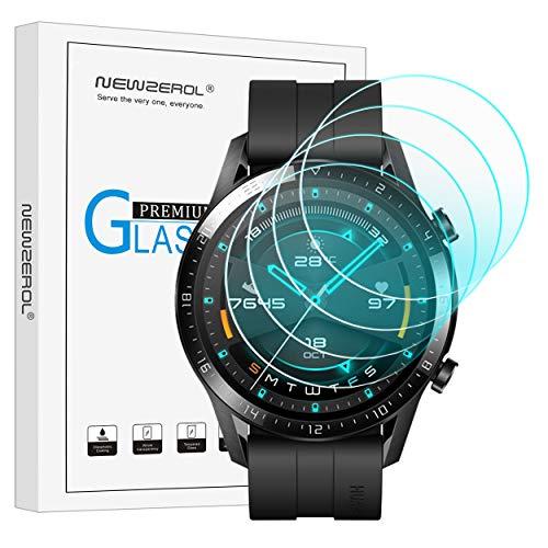 NEWZEROL Panzerglas kompatible für Huawei Watch GT 2 46mm Schutzfolie, 4 stück 2.5D Arc Edges 9H Glas Bildschirmschutz Anti-Kratzer blasenfrei Schutzfolie mit CLAR Lebenslange Ersatzgarantie