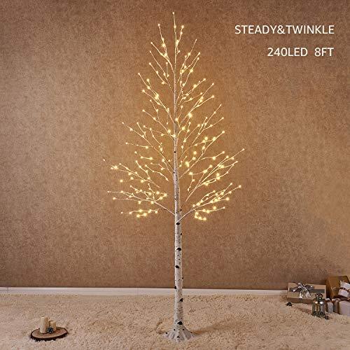Hairui Árbol Abedul Preiluminado de 240CM y 240 Leds para la Decoración del Hogar Árbol de Navidad Blanco con Luces LED de Color Blanco Cálido, Árbol Artificial Iluminado con Parpadeo Parcial Salida