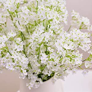 24 Pieces BabysBreath Gypsophila Artificial Flowers White Silk Fake Flowers Bouquet for Wedding Party Home Decoration