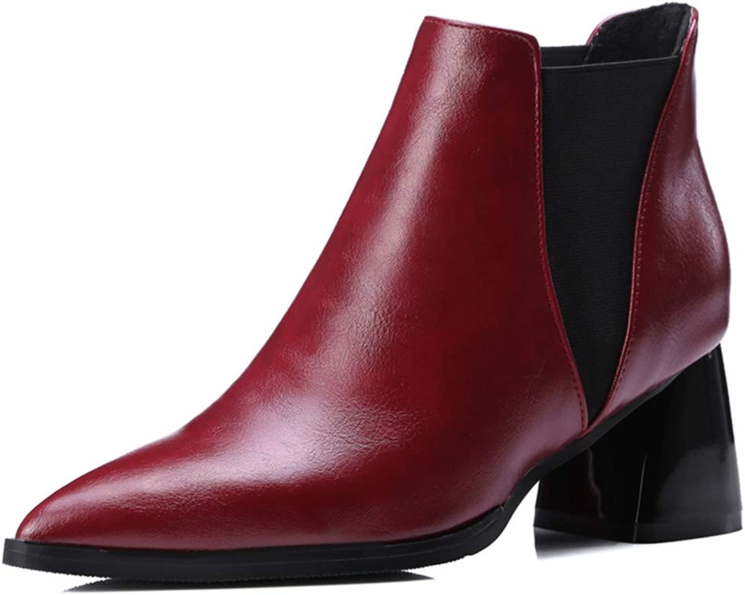 GIY Women's Pointed Toe Elastic Side Panel Ankle Boots Fashion Block Heel Chelsea Booties Martin Boot