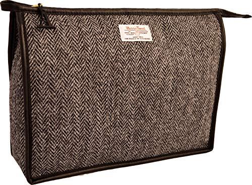 Vagabond Bags Ltd Harris Tweed Herringbone Giant Holdall Trousse de Toilette, 31 cm, Noir (Black & White Tweed)