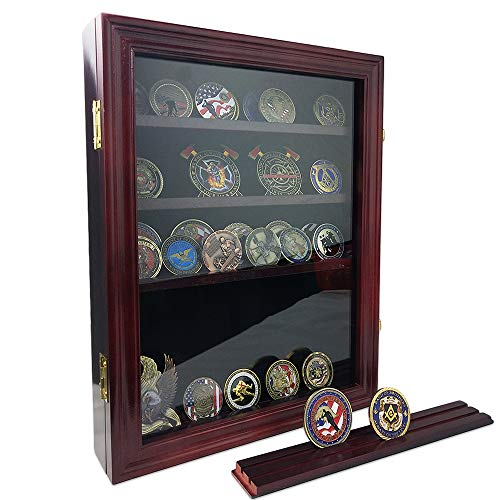 AtSKnSK Military Challenge Coin Display Holder Stand Rack Box with Closable Glass Door - Holds 50 to 60 Coins - Shelf Removable