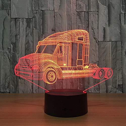 Luz De Noche LED Con luz De Ilusión 3D Truckhead 7 colores Lámpara de mesa táctil para niños Usb Bebé Dormir Regalo Decoración Niños y niñas Dormitorio Lámpara de mesita de noche