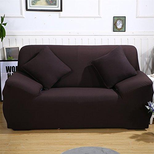 ele ELEOPTION Sofa Überwürfe Sofabezug Stretch elastische Sofahusse Sofa Abdeckung in Verschiedene Größe und Farbe Herstellergröße 145-185cm (Dunkelbraun, 2 Sitzer für Sofalänge 130-170cm)