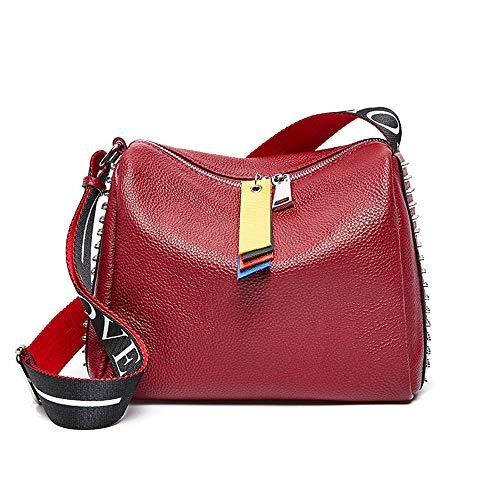 Tote Bag Shopper van leer met brede band voor dames, hoofdhoes, schoudertas van rundleer, Azul Y Amarillo (rood) - 9381892278922