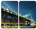WENKO Placas cobertoras de vidrio universales Brooklyn Bridge, juego de 2 piezas para todos los...
