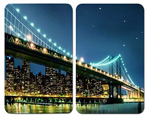 WENKO Placas cobertoras de vidrio universales Brooklyn Bridge, juego de 2 piezas para todos los tipos de cocinas, Vidrio endurecido, 30 x 52 cm, Multicolor
