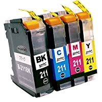 brother LC211-4PK (PGBK/C/M/Y) 【ブラック顔料/4色セット】 Hyper互換インクカートリッジ 【nasia+製】 (最新型ICチップ/残量検知/製品1年保証付き) LC211 211PG