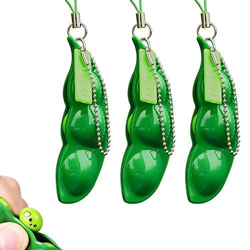 Esteopt Drücken eine Bohne, Squeeze Bean Schlüsselanhänger, Squeeze Bean Spielzeug Keychain, Dekomprimieren und entspannen Spielzeug Squeeze Bean Schlüsselhalter 3PCS
