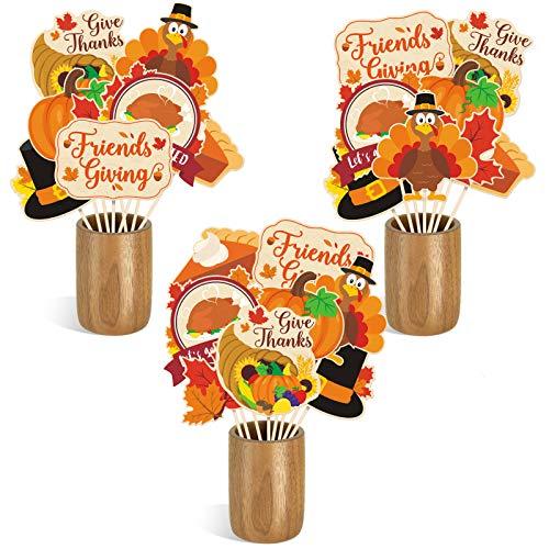 Friendsgiving Centerpiece Sticks DIY Thanksgiving Fall Theme Table Decorations Pumpkin Turkey Pie Cutouts for Friendsgiving Friends Gathering Give Thanks Holiday Feast Party Supplies Set of 24