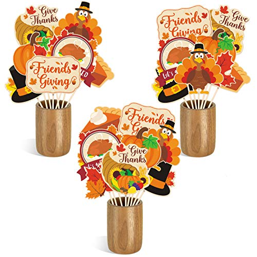 Friendsgiving Centerpiece Sticks DIY Thanksgiving Fall Theme Table Decorations Pumpkin Turkey Pie Cutouts for Friendsgiving Friends Gathering Give Thanks Holiday Feast Party Supplies Set of 24