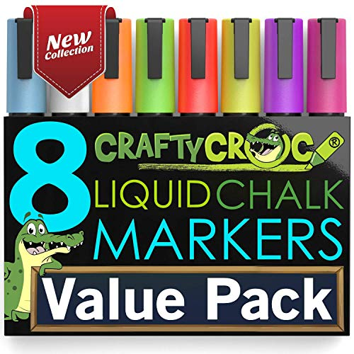 Liquid Chalk Markers for Blackboards - Use as Glass Window Markers, Mirror Pens, Blackboard or Chalkboard Markers - 8 Bold Neon Colors - Wet or Dry Erase Chalk Pens for Easy Clean Up