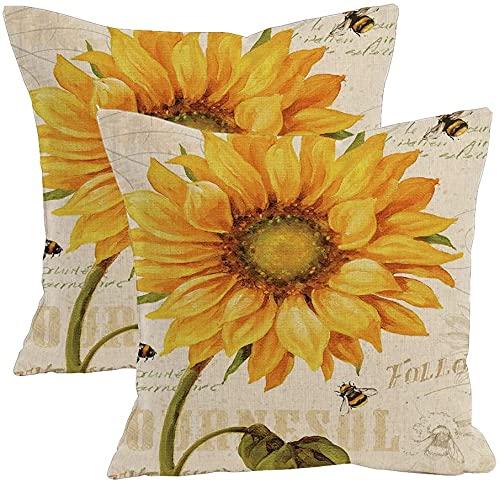 2 fundas de cojín de mezcla de lino y flores naturales con patrón de algodón, funda de almohada decorativa cuadrada de 45,7 x 45,7 cm (pintura al óleo)
